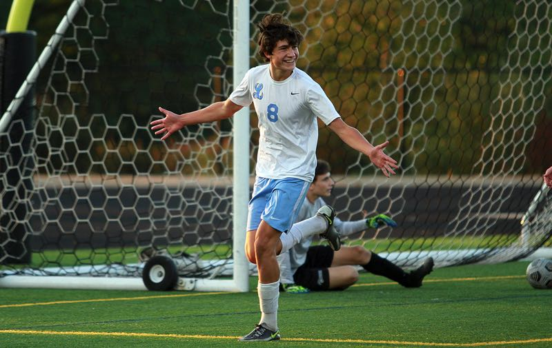 PMG PHOTO: MILES VANCE - Lakeridge sophomore Rafael Loyo celebrates after scoring the first goal in his team's 3-1 win at Mountainside on Thursday, Sept. 2.