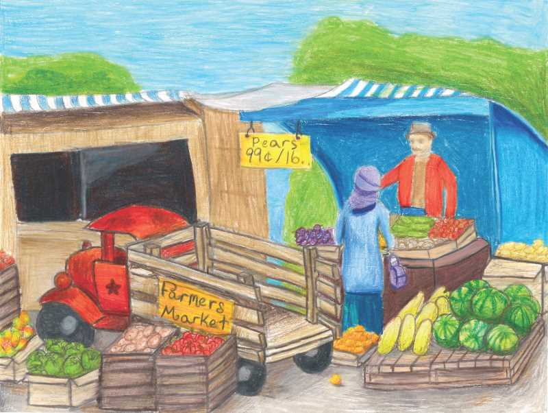 COURTESY PHOTO: OREGON AGRICULTURE IN THE CLASSROOM FOUNDATION - Morgan's drawing is a rendition of the farmer's market in Gresham she likes to attend.