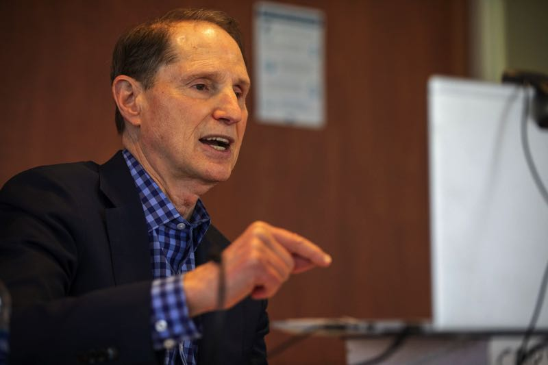 FILE - Oregon Senator Ron Wyden answers questions during a virtual townhall from the Pamplin Media Group offices on March 29, 2021.