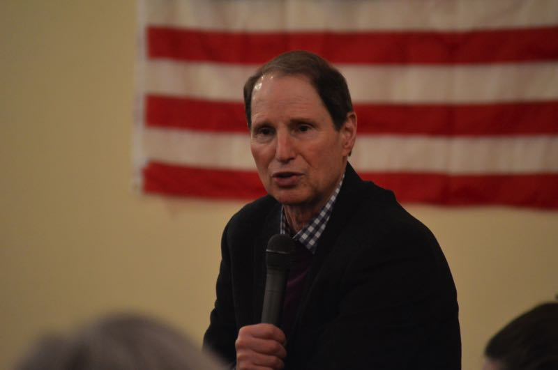 FILE - Sen. Ron Wyden speaks during a town hall event in St. Helens in 2019.