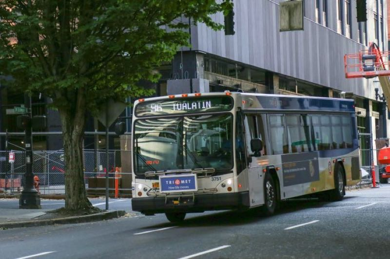 COURTESY PHOTO: KOIN 6 NEWS - A TriMet bus in downtown Portlnd.