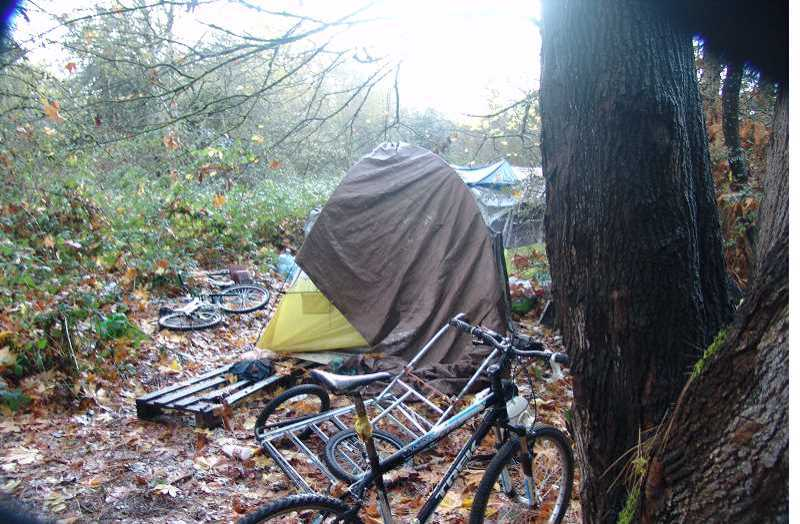 COURTESY PHOTO: CITY OF TIGARD - The city of Tigard cleared this homeless camp on Tigard Street near Katherine Street in downtown Tigard in 2018. Concerns about visible homelessness in downtown Tigard have led the city to form CHART, an acronym for Community Homelessness Assessment & Response Team.