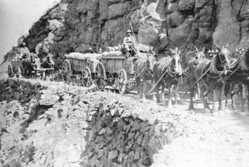 PHOTO COURTESY OF BOWMAN MUSEUM  - The first roads were not much better than cow paths, and passages down canyons were often steep and dangerous.