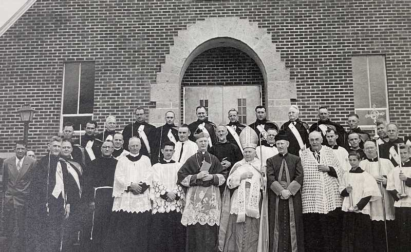 PHOTO CONTRIBUTED BY ST. JOSEPH'S CATHOLIC CHURCH  - 1951 dedication at St. Joseph's Catholic Church on Main Street, which was dedicated with Bishop O'Brian.
