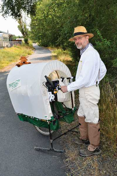 RAMONA MCCALLISTER - Donald Martin of Prineville began his trek of the Meek Cutoff on Sept. 1 near Vale, Oregon. He will be coming through Prineville later in September, which is a part of the trail, and arriving in The Dalles, Oregon in late September or early October.