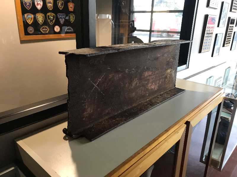 COURTESY PHOTO: DAVE NEMEYER - A piece of the World Trade Center on display at Forest Grove Fire & Rescue.