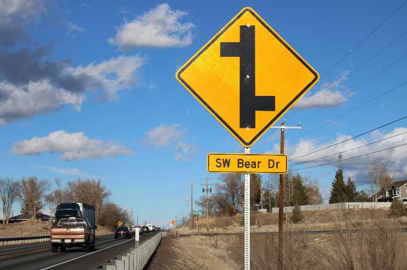 PAT KRUIS/MADRAS PIONEER - A high number of severe and sometimes fatal accidents along this stretch of Highway 97 prompted the Oregon Department of Transportation to close Bear Drive and Eureka Lane at the highway. The closure process begins Sept. 20.