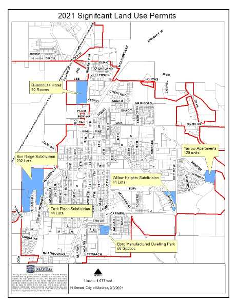 CITY OF MADRAS - City of Madras graphic noting the new subdivisions in the works or in planning stages.