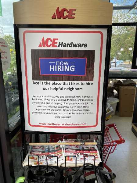 PMG PHOTO: HOLLY BARTHOLOMEW - Ace Hardware in West Linn is looking for employees, and says most of its recent applicants have been high school or college-aged people.