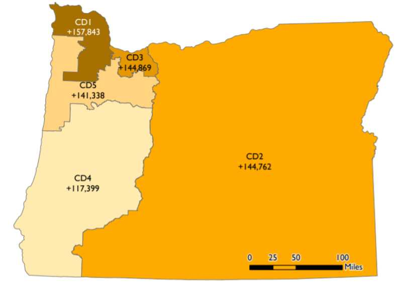 (Image is Clickable Link) OREGON LEGISLATIVE POLICY AND RESEARCH OFFICE - Each of Oregon's five congressional districts will shrink to accommodate a new sixth district. Congressional District 1, which includes Columbia County, will shrink the most to make six districts with equal populations.