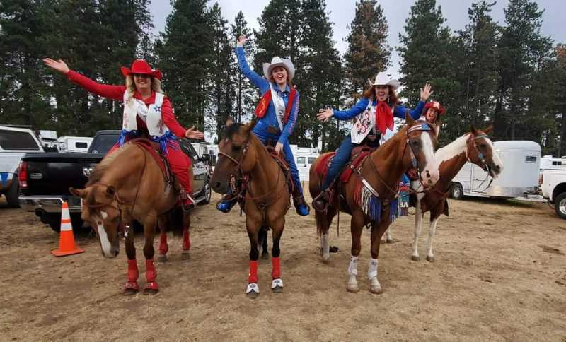 COURTESY PHOTO: JEFF WONG - From left, Katie Ralston, Britney Norby, and Avalon Irwin compete during the Clackamas County Fair and Canby Rodeo.