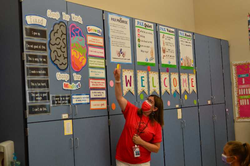 PMG PHOTO: RAY PITZ - Alberta Rider Elementary School second grade teacher Cheri Gamache talks about the importance of having a positive mindset to her students on the first day of school Wednesday.