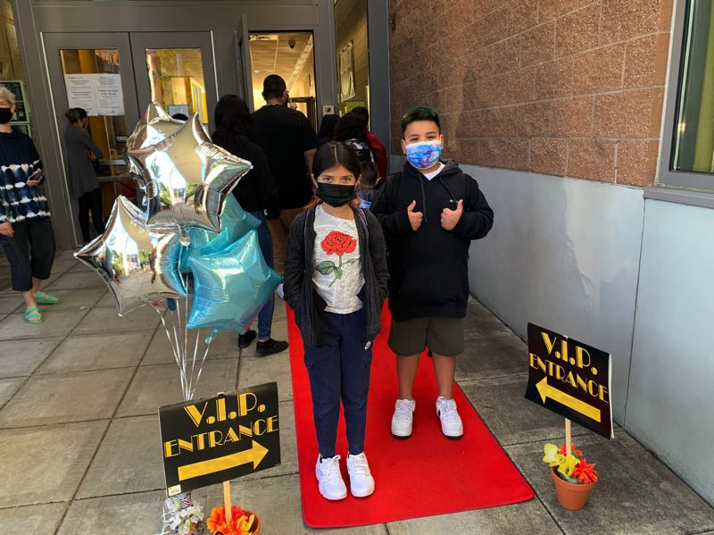 COURTESY PHOTO: HILLSBORO SCHOOL DISTRICT - Witch Hazel Elementary School in Hillsboro rolled out the red carpet for arriving students on the first day of classes Thursday, Sept. 9.