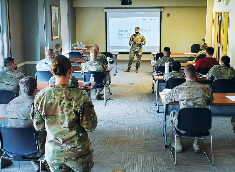 COURTESY PHOTO: PNMC - On Sept. 10, more than 30 soldiers participated in orientation to work at Providence Newberg Medical Center. They began working at the facility the following day and will continue for about a month.