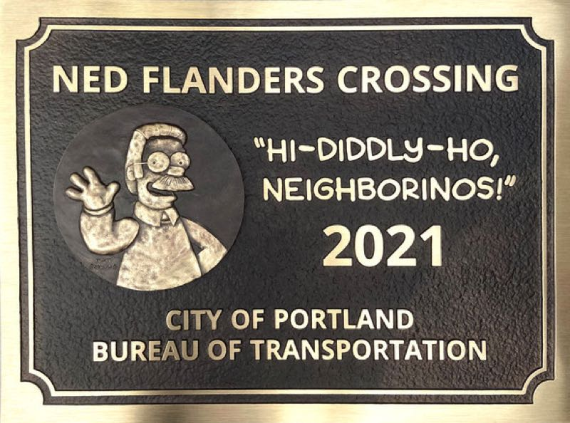 """COURTESY PBOT - The new Ned Flanders Crossing features an image of the mustachioed do-gooder and his catchphrase, """"Hi-Diddly-Ho, Neigborinos!"""""""