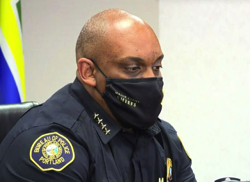 FILE - Portland Police Chief Chuck Lovell wears a face mask during a press conference earlier this year.