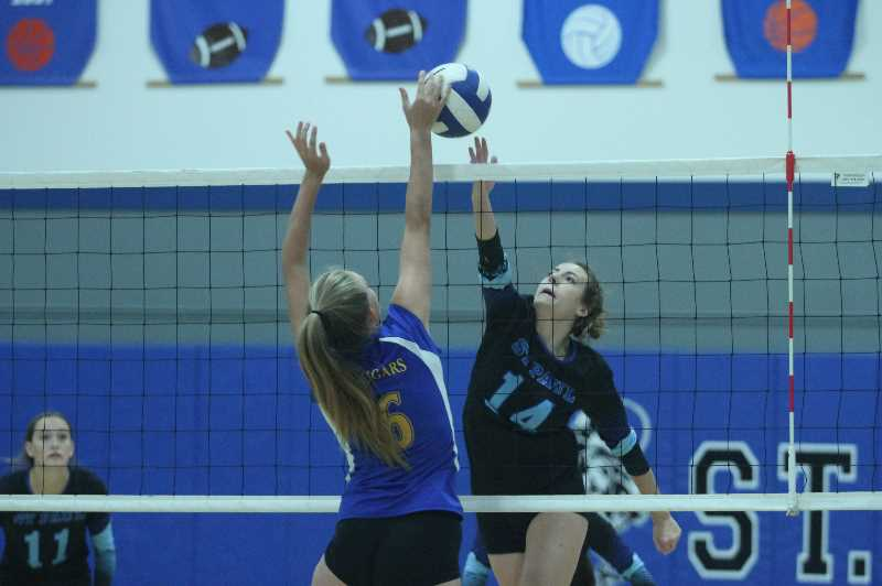 PMG FILE PHOTO: TANNER RUSS - St. Paul Halsie Hempfling had a combined 15 kills in the doubleheader against Crane and Powder Valley on Friday, Sept. 3.
