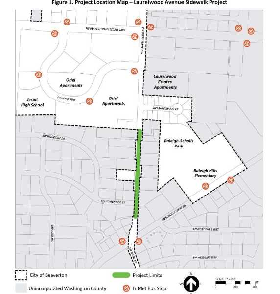 COURTESY PHOTO: CITY OF BEAVERTON - A map showing the area of the Laurelwood Avenue Sidewalk Project in Beaverton. The project will provide a continuous sidewalk along one side of Laurelwood Avenue between Scholls Ferry Road and Apple Way., Beaverton Valley Times - News The project will provide a continuous sidewalk along one side of Laurelwood Avenue in Beaverton. Beaverton sidewalk improvement project moves forward, new funds