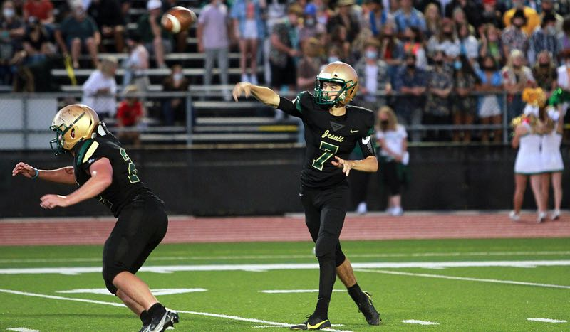 PMG PHOTO: MILES VANCE - Jesuit sophomore quarterback Jacob Hutchinson throws downfield during his team's 17-3 loss to West Linn at Jesuit High School on Friday, Sept. 3.