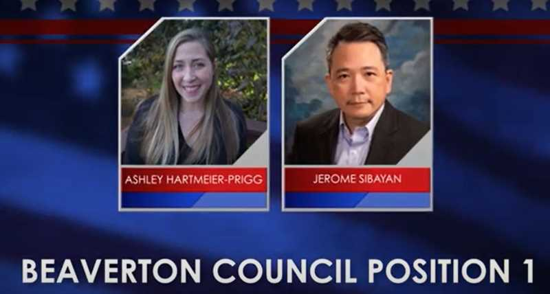 SCREENSHOT - Ashley Harmeier-Prigg and Jerome Sibayan are both vying for Position 1 on Beaverton City Council., Beaverton Valley Times - News The forum will be broadcast live on TVCTV's YouTube feeds in both English and Spanish. Beaverton to host virtual voter's forum Thursday