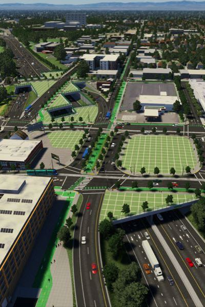 COURTESY GRAPHIC: ODOT - Artists rendering of the completed  I-5 Rose Quarter project with freeway caps.