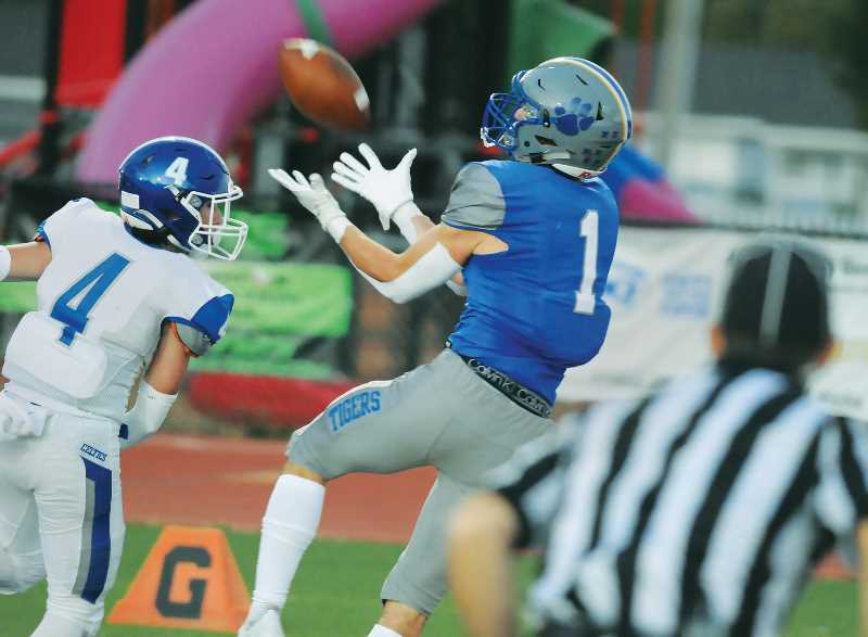 PMG PHOTO: GARY ALLEN - Wide receiver Sam Murphy pulled down a touchdown pass from quarterback Levi Durrell in the first half of the Tigers' 17-14 loss to McNary on Friday, Sept. 10, at Loran Douglas Field.