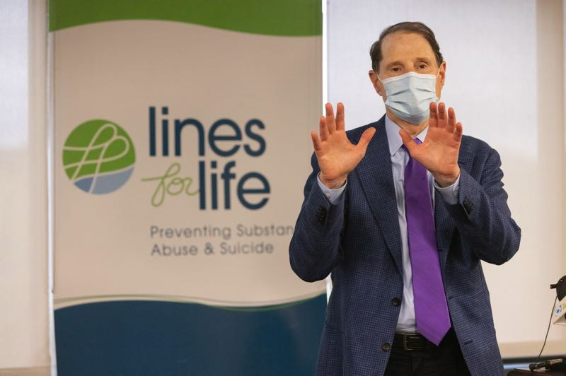 PMG PHOTO: JONATHAN HOUSE - U.S. Sen. Ron Wyden talks about plans to bolster access to mental health services from the Lines for Life offices on Sept. 10, World Suicide Prevention Day.