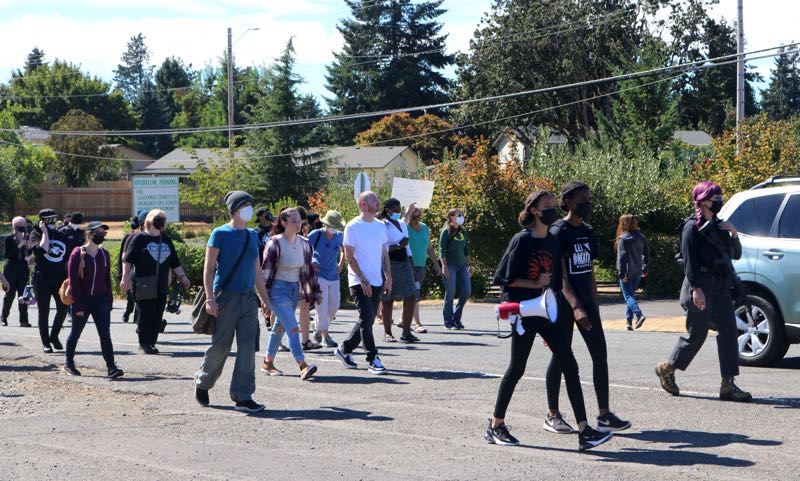 PMG PHOTO: ZANE SPARLING - Protesters begin to march after gathering outside the Clackamas County Jail in Oregon City on Saturday, Sept. 11 during a protest for Jermelle Madison, who was declared dead in the hospital after being found unresponsive inside his cell.