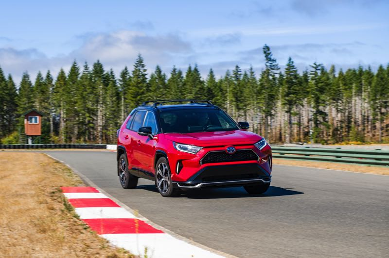 DOUG BERGER/NWAPA - The 2021 Toyota RAV4 Prome XSE AWD completed most of its track testing on electricity alone at Mudfest 2021.