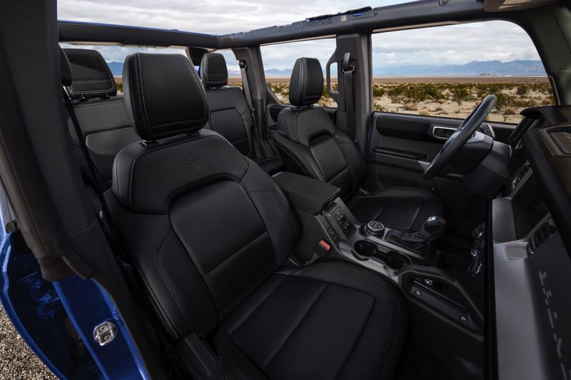 COURTESY PHOTO: GORD MOTRO CO. - The interior of the 2021 Ford Bronco is large enough for five adults to ride in comfort. Show here with the removable roof off.