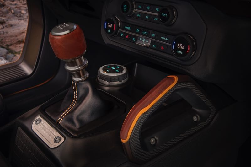 COURTESY PHOTO: FORD MOTOR CO. - The 2021 Ford Bronco is one of the few vehicles of any kind that can be ordered with a manual trnasmission. The large dial on the console controls the drive modes.