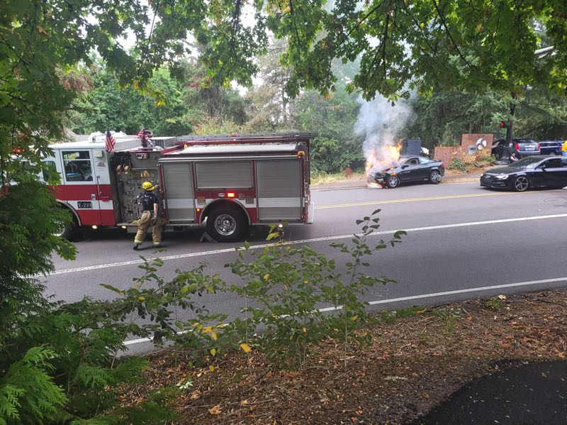 COURTESY PHOTO: BRIAN GAFFNEY - One vehicle caught fire during the traffic collision on Kerr Parkway.