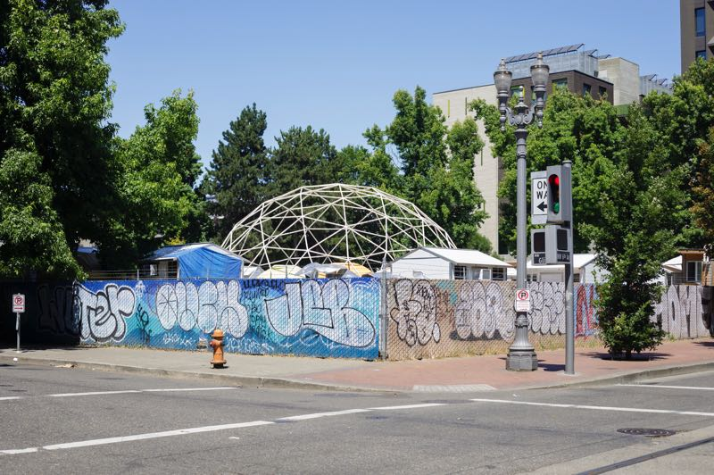 PMG PHOTO: JONATHAN HOUSE - An outdoor shelter stands in the Old Town neighborhood of downtown Portland.