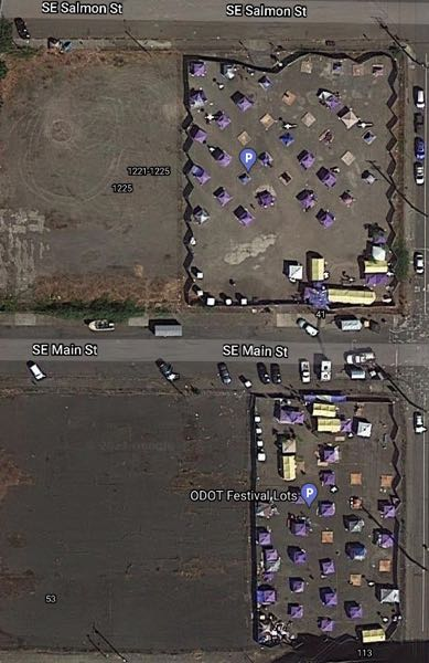 VIA GOOGLE MAPS - Two of the outdoor shelter villages known as C3PO can been seen in aerial photos.