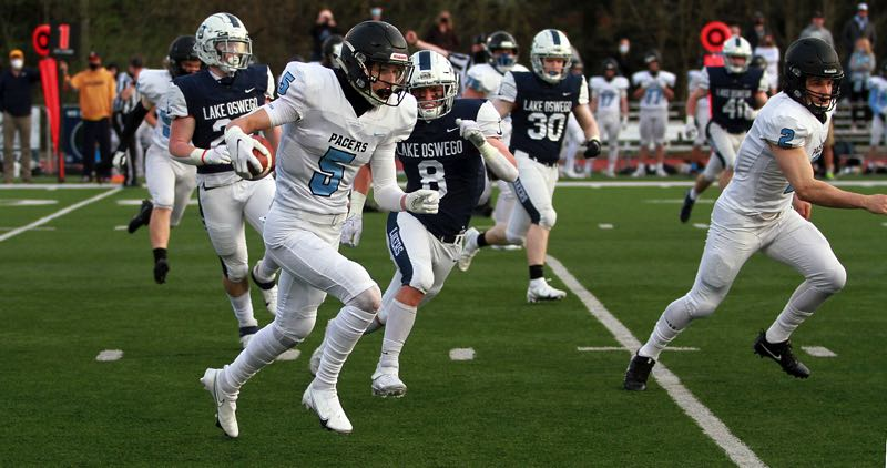 PMG PHOTO: MILES VANCE - Lakeridge junior wide receiver Baylor Corbin will team with Joey Olsen to give the Pacers a potent 1-2 punch on the outside this year.