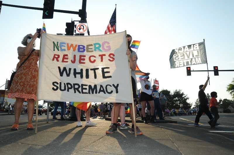 PMG FILE PHOTO - Protesters gathered after the Newberg School Board passed rules banning the display of Black Lives Matter or Pride symbols in schools.