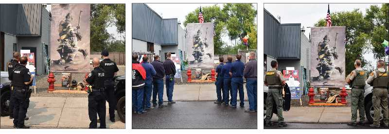 RAMONA MCCALLISTER - Pictured from left: Officers from Prineville Police Department pay tribute, from left: Officer Brandin Noland, Officer Jeff Coffman, Officer James Young, and Officer Shea Dulley. Center photo: Members of the Crook County Fire and Rescue, back to front, left: Jordan Fanning, Jeff Berkebile, Lt. Seth Tooley, Lt. Sam Scheideman. Front to back, right: Michael Kearney, Jackson Komlofske, Blake Buckles, Division Chief Russ Deboodt. Crook County Sheriff's Office, left to right: Deputy Justine Silence, Sheriff John Gautney, and Lt. Bill Eliott.