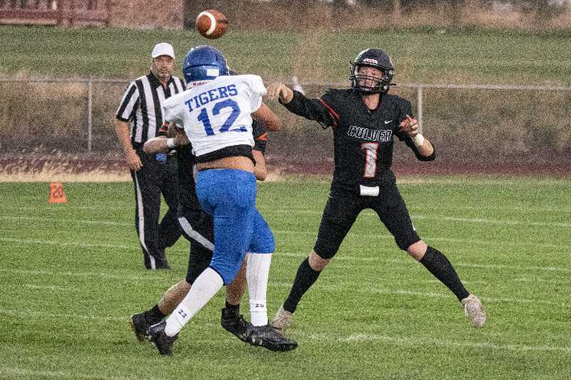 LON AUSTIN/MADRAS PIONEER - Culver quarterback Logan Macy, a junior, said he and other upperclassmen need to work on their leadership.