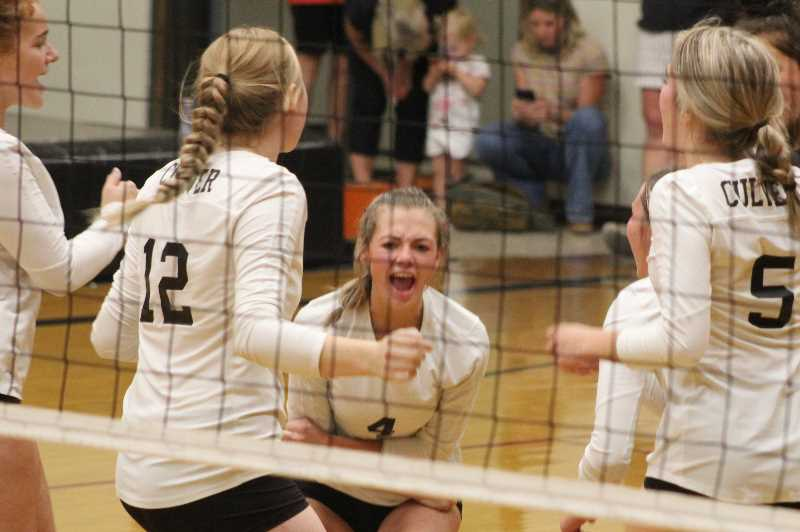 ANDY DIECKHOFF/MADRAS PIONEER - Culver junior Brooke Bush, center, led the Bulldogs with nine aces against Gervais, including five in the final set.
