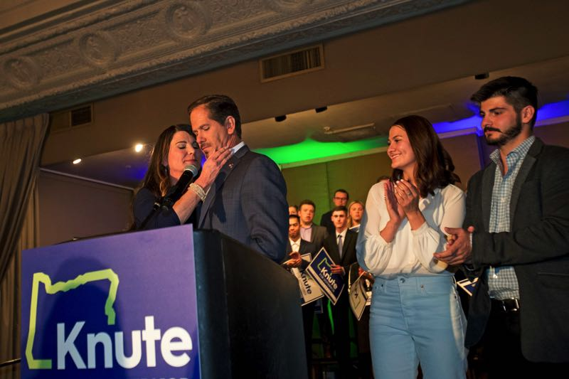 PMG FILE PHOTO - State Rep. Knute Buehler spoke to supporters after losing the 2018 gubernatorial race. Buehler jumped into that race on the first day candidates could file.