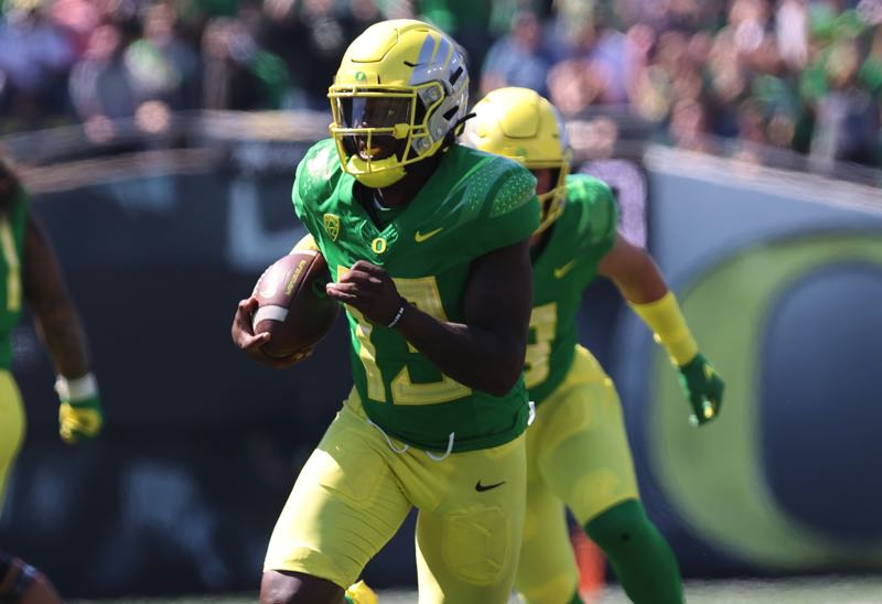 PMG PHOTO: JAIME VALDEZ - Ducks quarterback Anthony Brown Jr., who used his legs to beat Fresno State in the opener, showed maturity in the win Sept. 11 at Ohio State.