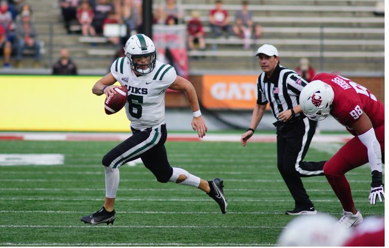 COURTESY PHOTO: KAI EISELEIN/PORTLAND STATE ATHLETICS - After throwing for almost 700 yards through two games against FBS opponents, Portland State quarterback Davis Alexander gets a shot at Western Oregon in the Vikings' home opener Saturday at Hillsboro Stadium.