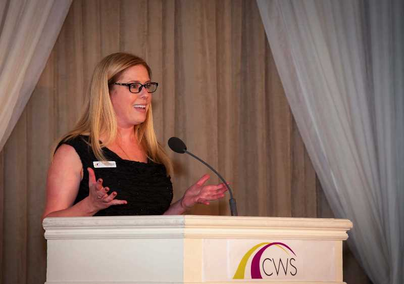 COURTESY PHOTO: CLACKAMAS WOMEN'S SERVICES - Executive Director Melissa Erlbaum speaks to attendees of CWS's Pathways Gala in 2019.