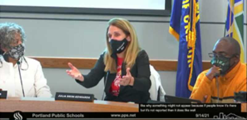 SCREENSHOT - Portland Public Schools board members discuss COVID cases in schools during a meeting Tuesday, Sept. 14. Left to right: Board Chair Michelle DePass, Julia Brim-Edwards and Gary Hollands.