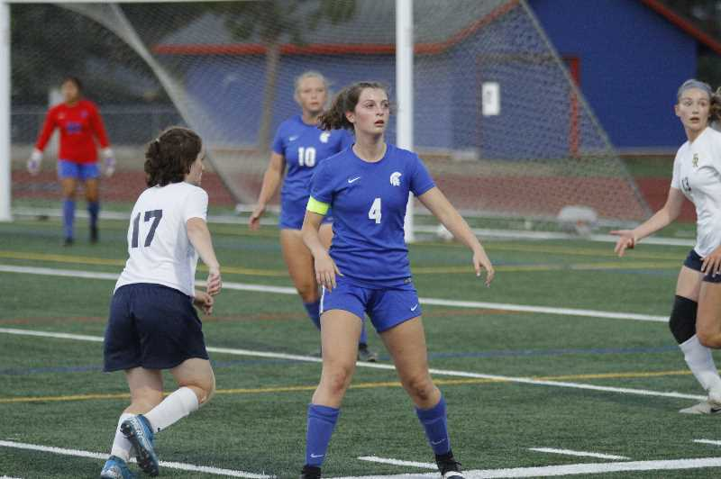 PMG PHOTO: WADE EVANSON - Hilhi's Margaret Shively awaits a cross from a teammate during the Spartans 4-0 win over Hood River Valley Tuesday night, Sept. 14, at Hillsboro High School. Shively scored two goals for the Sparts.