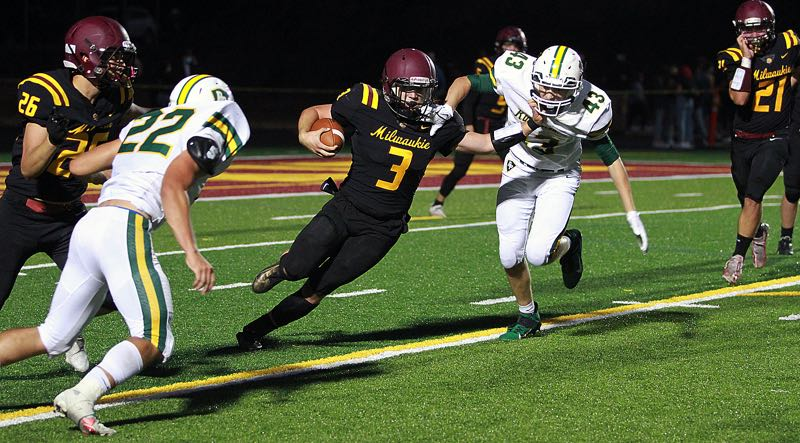 PMG PHOTO: MILES VANCE - Milwaukie senior running back Zane Garvey and the Mustangs are hoping to earn a state playoff berth in 2021.