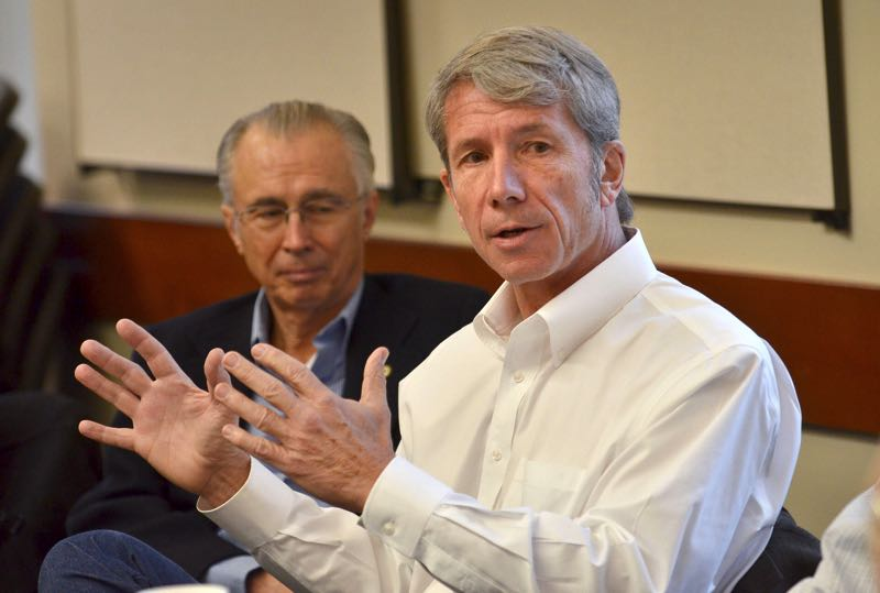 FILE - U.S. Rep. Kurt Schrader, right, gives Clackamas County elected officials an update on Congress in 2013.