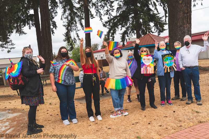 COURTESY PHOTO: DAVID JACKSON - People gather at Long Park for the first-ever Molalla Pride event on Sept. 12.