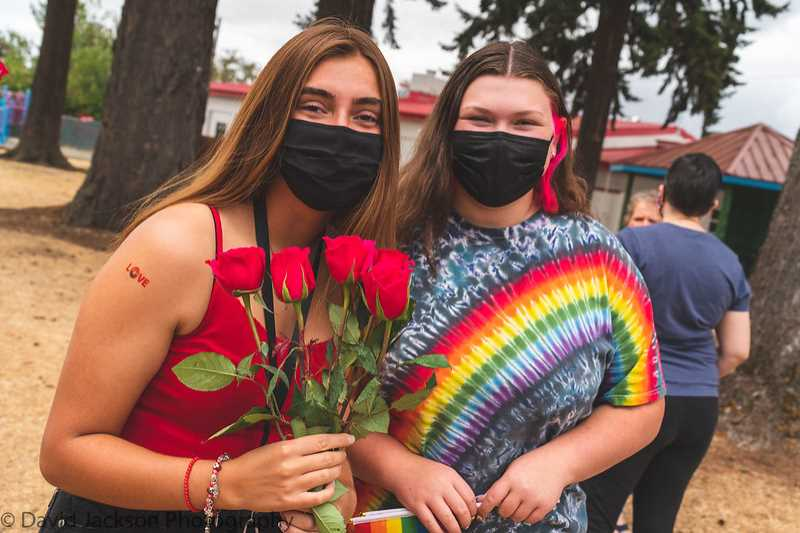 COURTESY PHOTO: DAVID JACKSON - About 60 people gathered at Long Park in Molalla for the pride event.