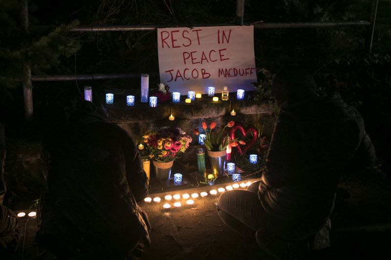 PMG PHOTO: JAIME VALDEZ - A roadside vigil is held for Jacob Macduff, who was shot and killed by police in Tigard on Jan. 6, earlier this year.